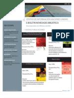 Boletín de Novedades Bibliográficas CINU Bogotá Mayo 2012