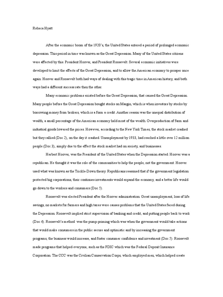 the great depression essay thesis