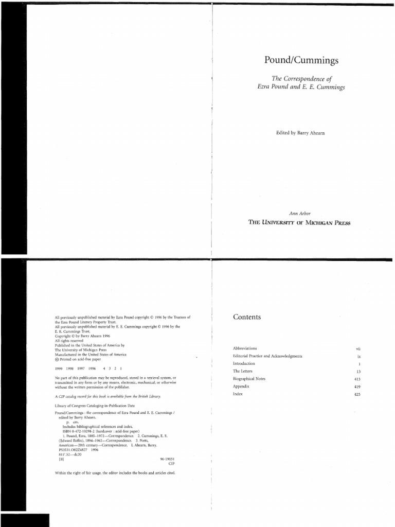 the correspondence of ezra pound and e e cummings fascism