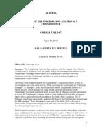 Calgary Police Service FOIP complaint