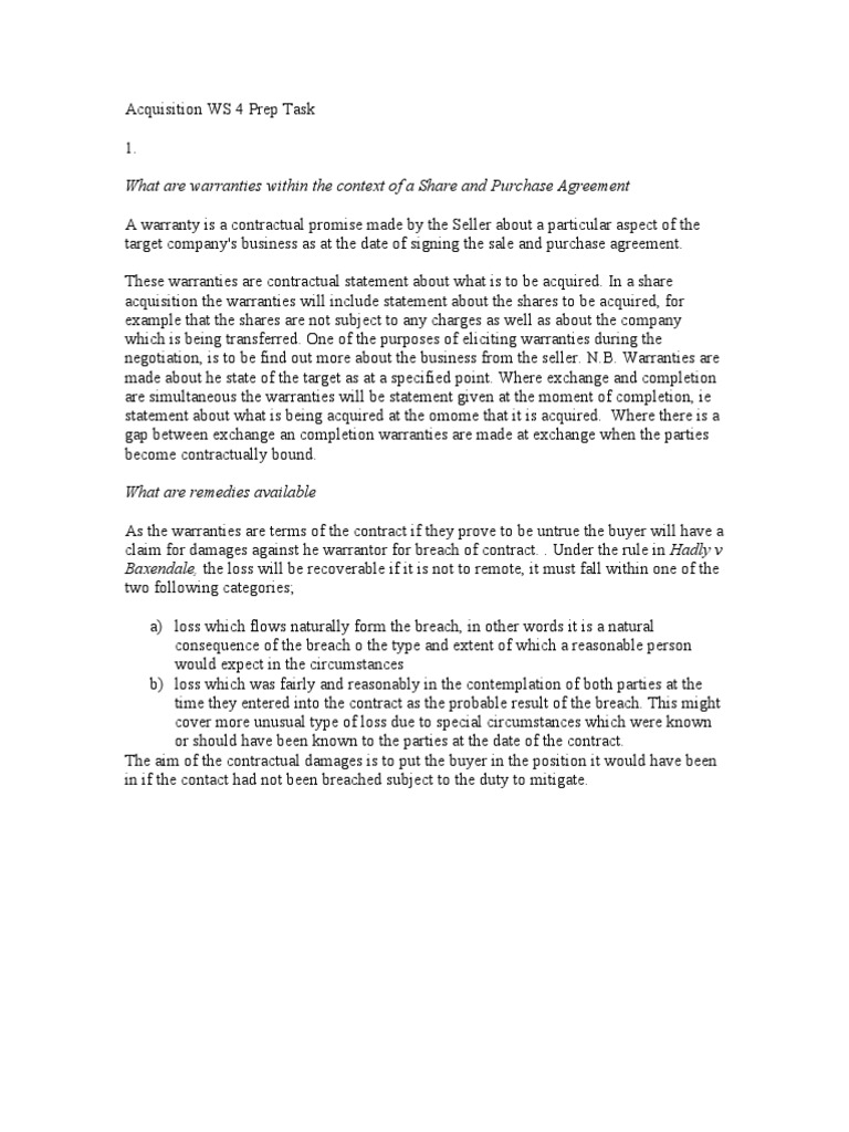 Acquisition Ws 4 Prep Task Misrepresentation Misrepresentation