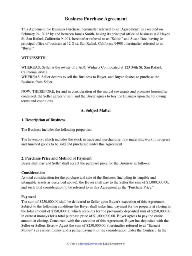 Business Purchase Agreement Indemnity – Business Purchase Agreements