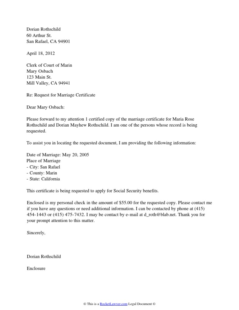Marriage Certificate Request Letter