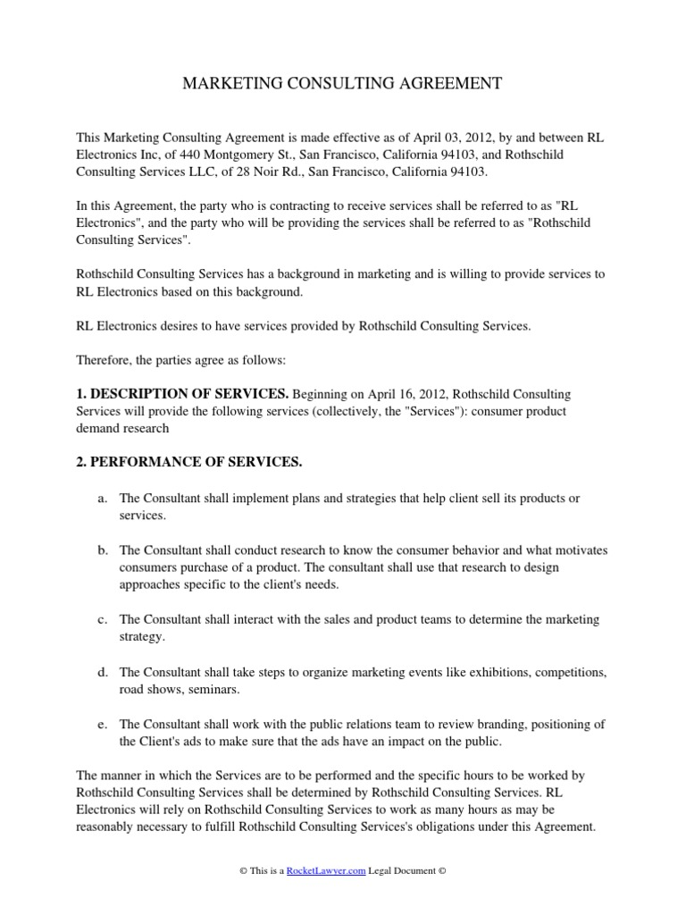 Marketing Consulting Agreement | Arbitration | Intellectual Property