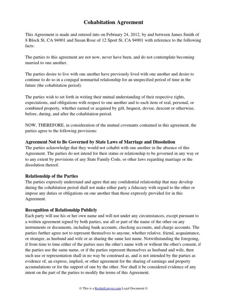 Cohabitation Agreement Property Notary Public