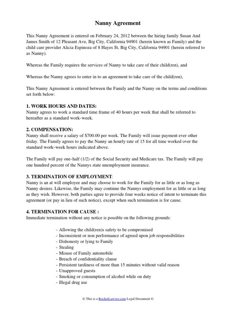 Child Care Contract Nanny Sick Leave