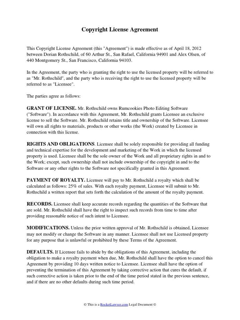 Copyright License Agreement Indemnity License