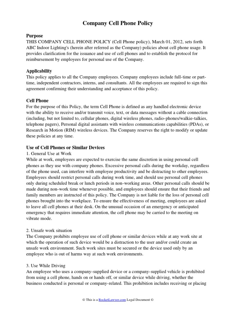 mobile phone policy template - company cell phone policy mobile phones telephone