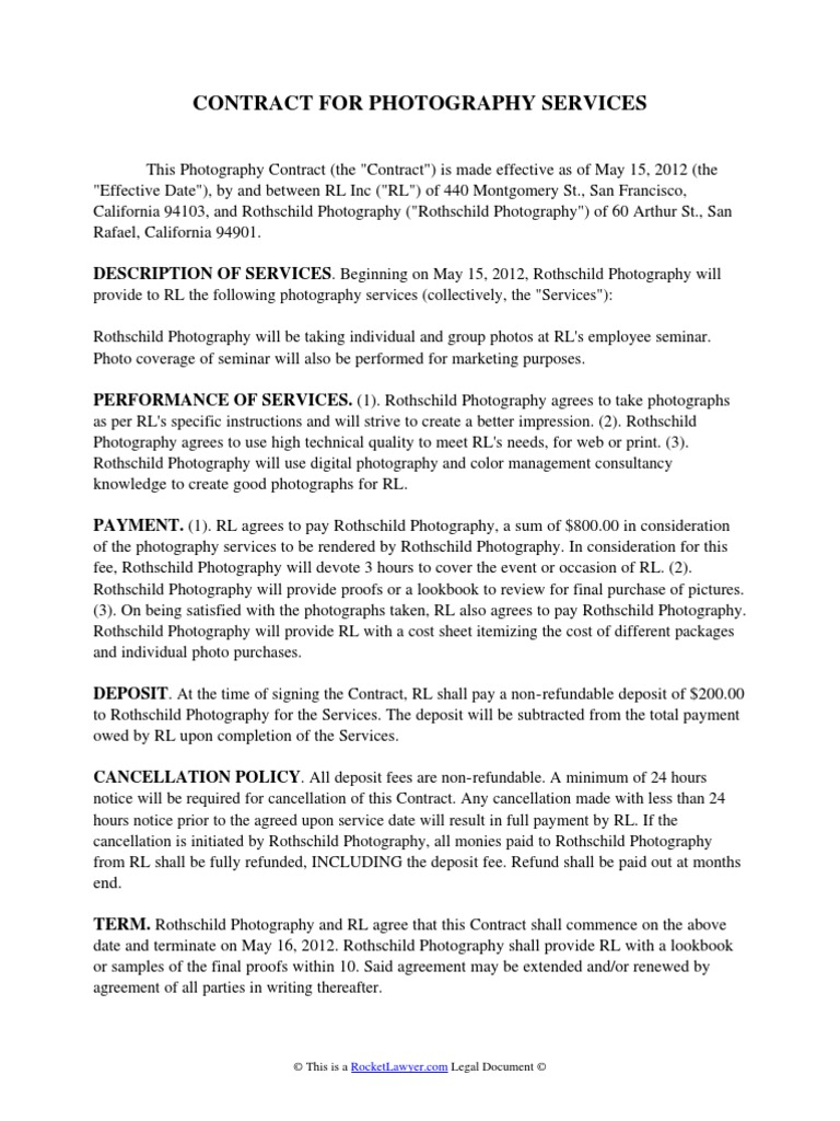 Photography Contract Arbitration Indemnity