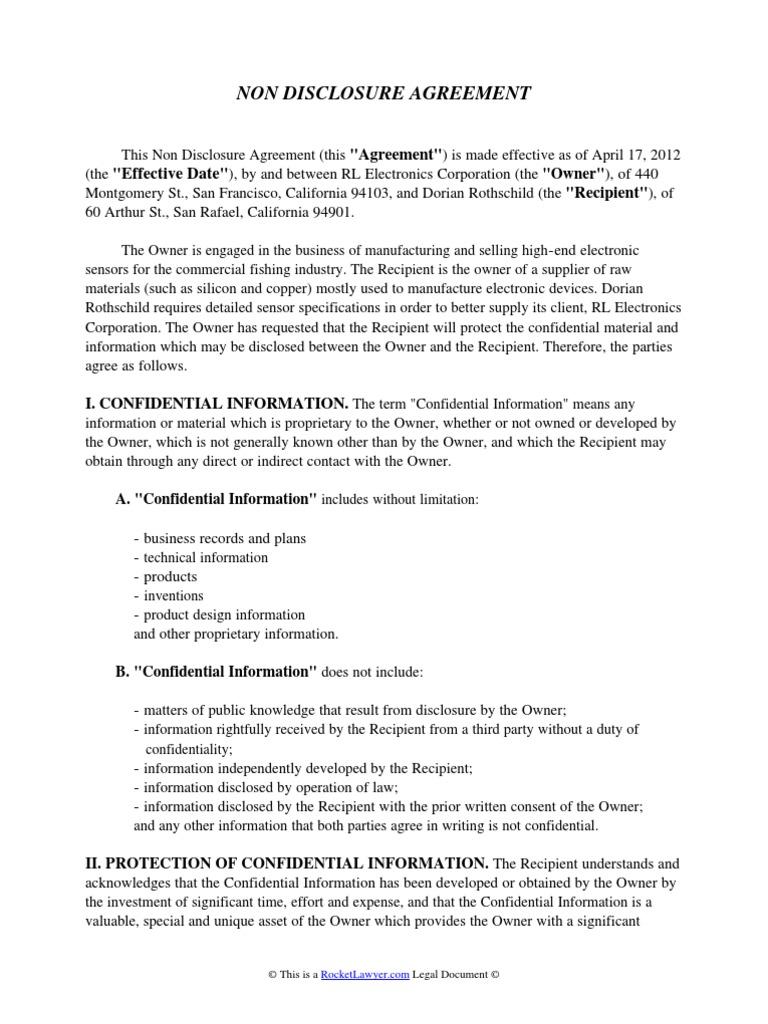 Non Disclosure Agreement Confidentiality Non Disclosure Agreement