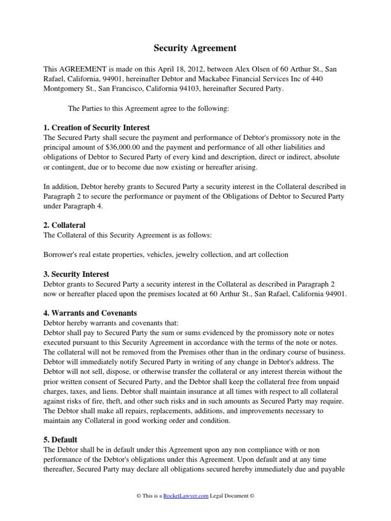 Security Agreement Debtor Security Interest
