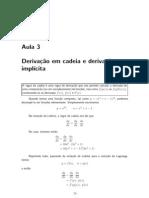 Aula03 - Derivacão em cadeia e derivação implícita