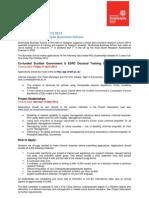 Strathclyde Business School Student Ships 2012 Project Descriptors