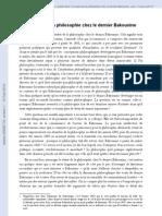 Le statut de la philosophie chez le dernier Bakounine ( Jean-Christophe ANGAUT, Lyon