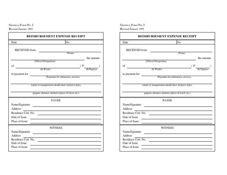reimbursement expense form