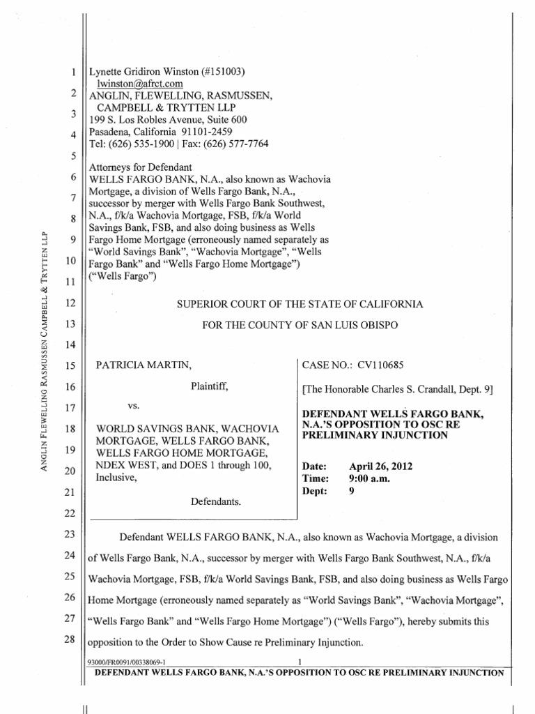 Wells Fargo's Opposition To Preliminary Injunction In Martin V Wells Fargo  Case Wells__150_bonus_atm On This Line