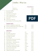 Cheffins Wine List