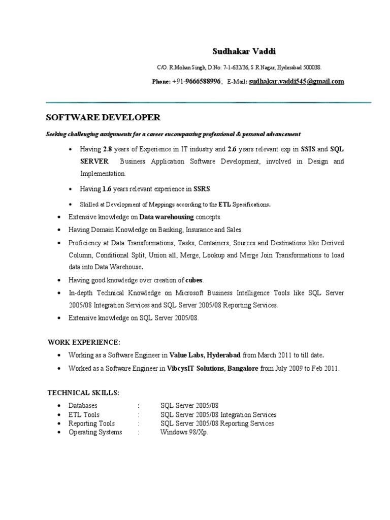 2 Ms Bi Resume Microsoft Sql Server Business Intelligence