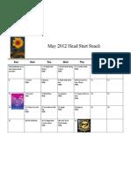 May Head Start Snack 2012