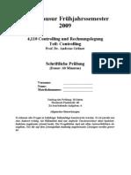 Probeklausur Controlling 2009