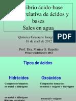 Fuerza de Acidos y Bases. Sales en Agua (1)
