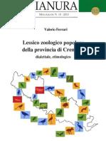 Valerio Ferrari - Lessico zoologico popolare della provincia di Cremona - Dialettale, etimologico