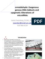 Inhaled Formaldehyde Exogenous Endogenous DNA Adducts Epigenetic Alterations of MicroRNAs by Jim Swenberg