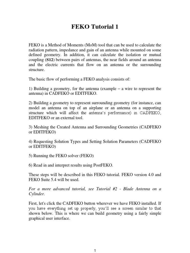 FEKO Tutorial | Antenna (Radio) | Electronic Engineering