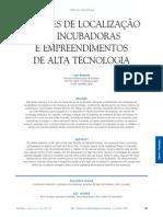 Fatores de localização de incubadoras e empreendimentos de alta tecnologia