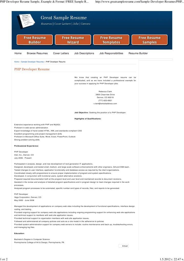 php developer resume sample example  format  free