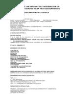 Ejemplo de Un Informe de Integracion de Datos Integrados Para Psicodiagnostico