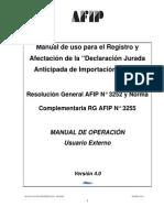 Manual de Uso Para La Declaracion Jurada de Importacion Anticipada