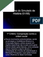 Resumo do Simulado de História (01