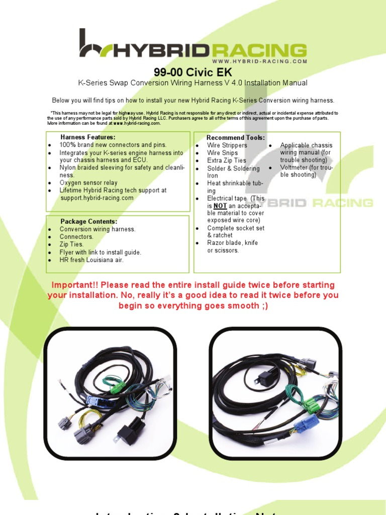 EK 99-00 Wire Harness Instructions 4 0 | Electrical Connector