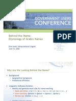 Behind the Arabic Name