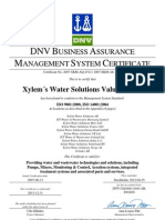Xylem Water Solutions AB ISO 9001 + 14001