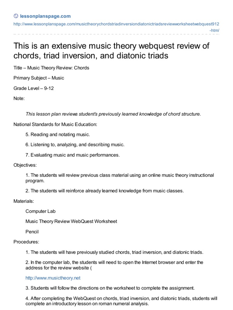 Lessonplanspage.com-This is an Extensive Music Theory Webquest ...