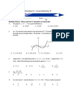 Curve Sketching Test - Multiple Choice A