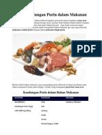 Daftar Kandungan Purin Dalam Makanan