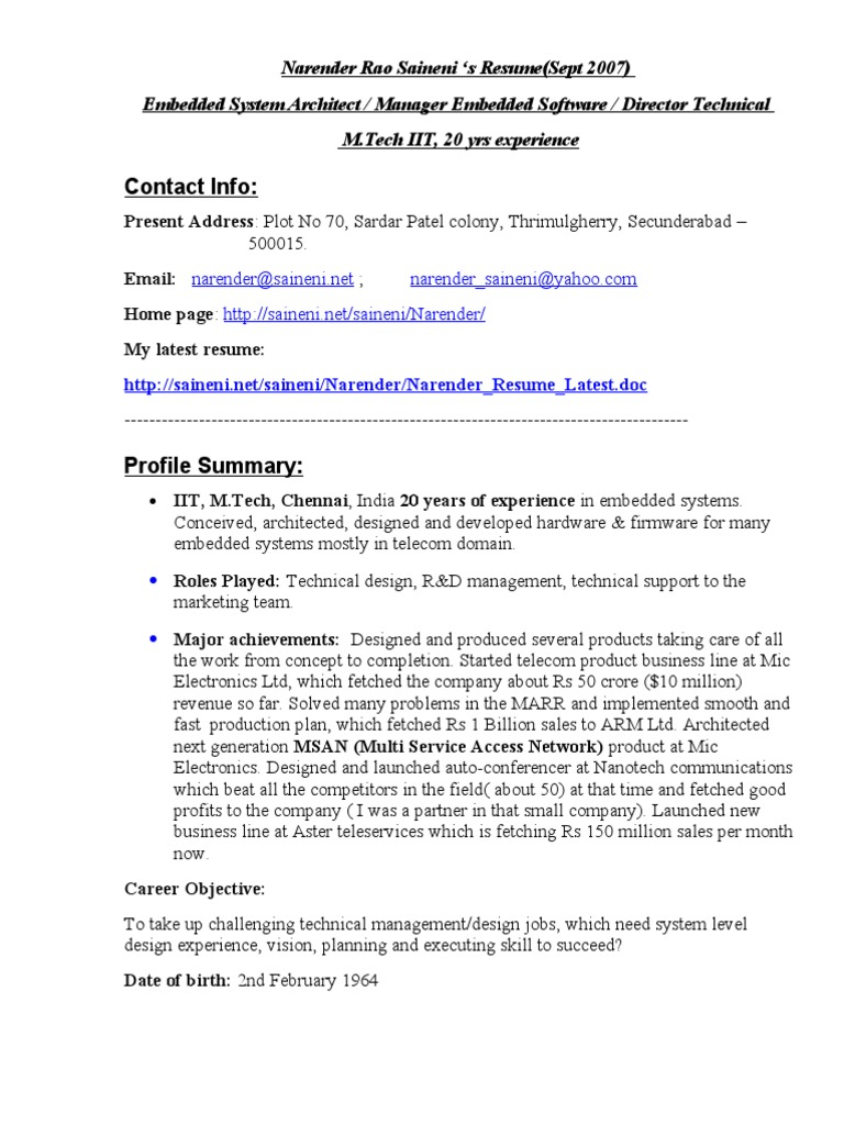Narender Resume Latest Telephone Exchange Embedded System