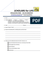 Scholars for Life Application Form 2012