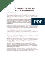 Keeping the Faith in a Faithless Age