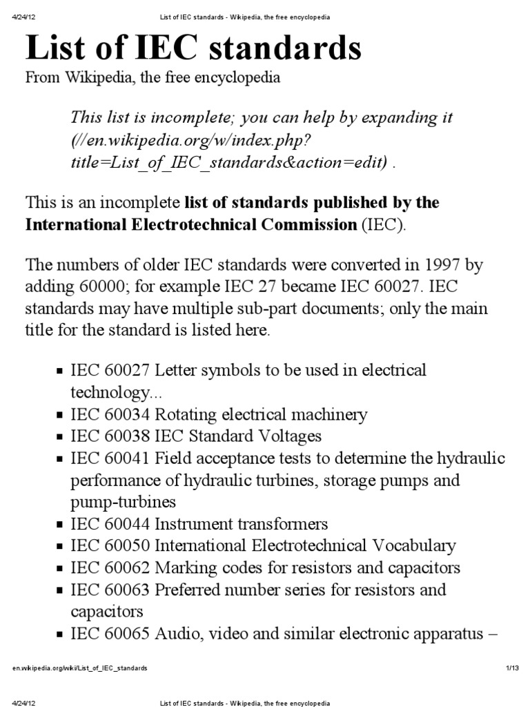 List of iec standards wikipedia the free encyclopedia list of iec standards wikipedia the free encyclopedia photovoltaic system international electrotechnical commission fandeluxe Gallery
