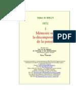 [ MAINE DE BIRAN ] ······ MÉMOIRE DÉCOMPOSITION PENSÉE I --LNPR