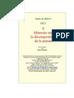 [ MAINE DE BIRAN ] ······ MÉMOIRE DÉCOMPOSITION PENSÉE II --LNPR