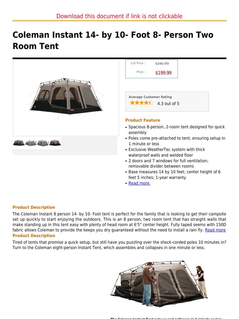 sc 1 st  Scribd & Coleman Instant 14- By 10- Foot 8- Person Two Room Tent | Tent | Lantern