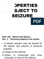 Properties Subject to Seizure