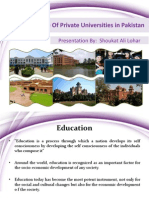 Role of Private Universities in HEC