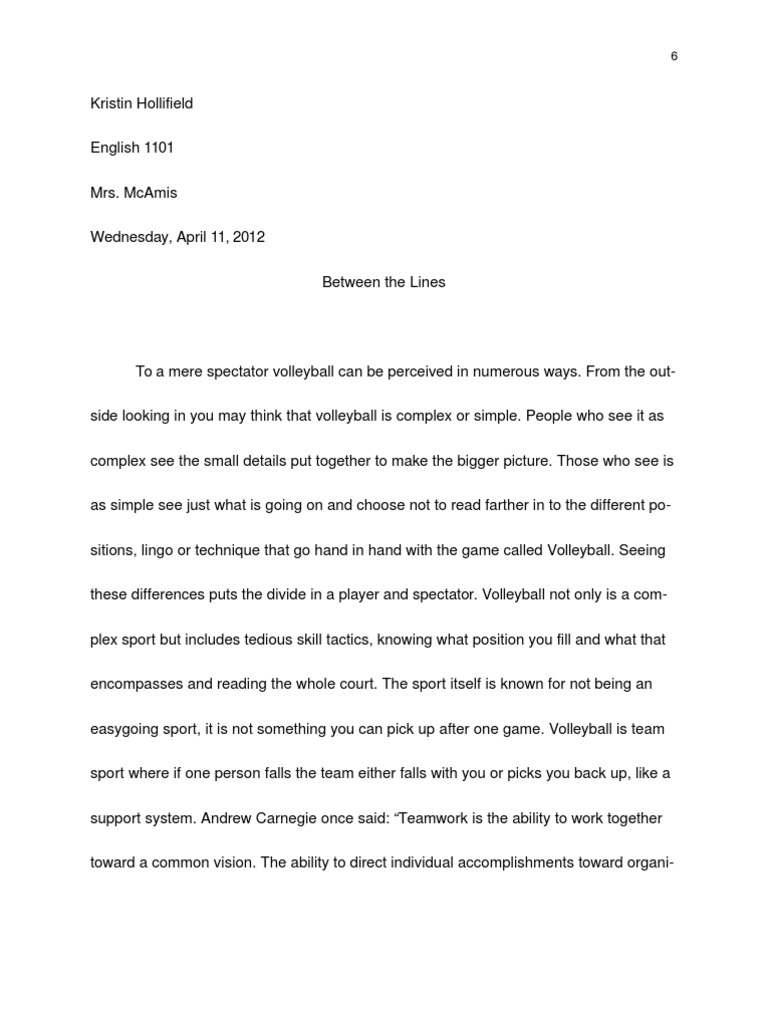 Essay Things Fall Apart Volleyball Ethnography Team Sports Peter Pan Essay also Analysis Essay Outline Volleyball Essay  Mistyhamel 500 Word Essay On Responsibility