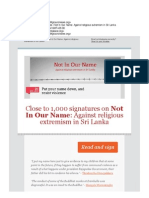 Close to 1,000 Signatures | Not in Our Name